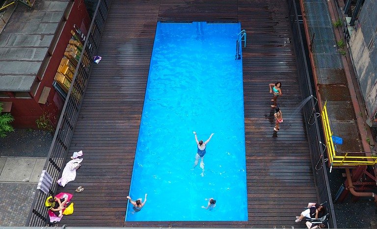 The 'Werksschwimmbad' swimming pool at Zeche Zollverein in Essen, western Germany