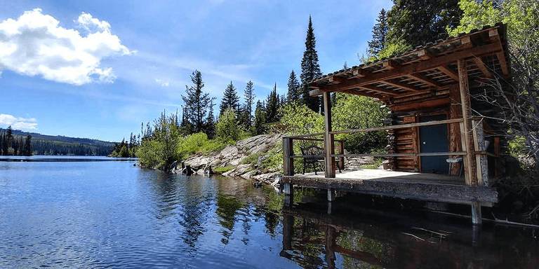 Glamping in a waterfront log cabin, British Columbia
