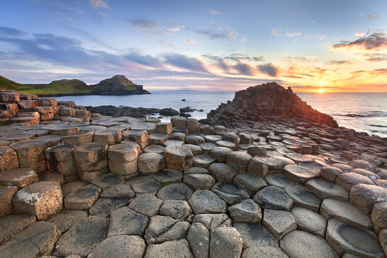 Giants causeway captured at sunset. Image shot 04/2011. Exact date unknown.
