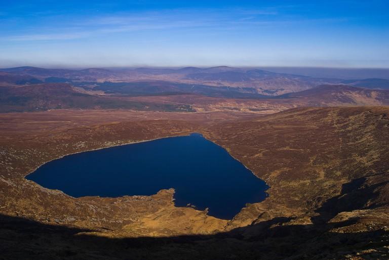 Lough Ouler ,Loch Iolar, Heart shape lake, Tonelagee Mountain, Wicklow Mountains, Ireland
