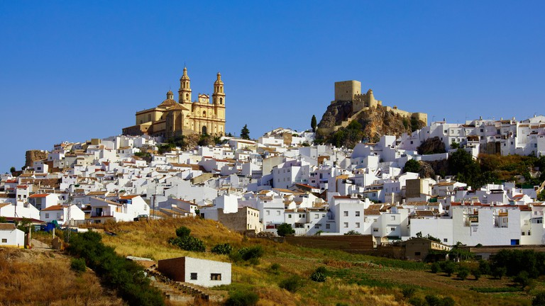 view to olvera with the church and the castle, andalusia, spain, europe