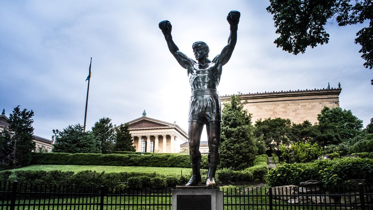 The world famous Rocky Statue next to the 'Rocky Steps', Eakins Oval, Philadelphia, USA