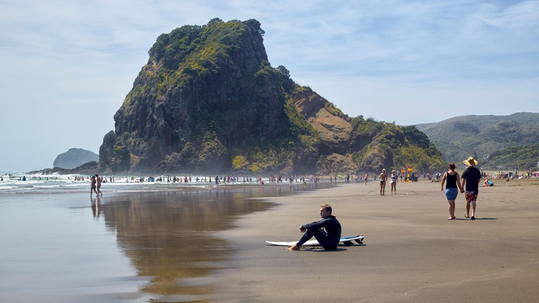 Piha Beach with Lion Rock in the background, New Zealand