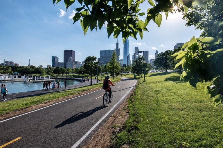 Bicycle riders on Lakefront Trail in Chicago