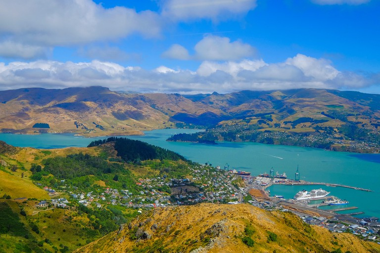 Beautiful view of Lyttelton Port and Harbour from the Christchurch Gondola Station  at the top of the Port Hills, Christchurch, Canterbury, New Zealan