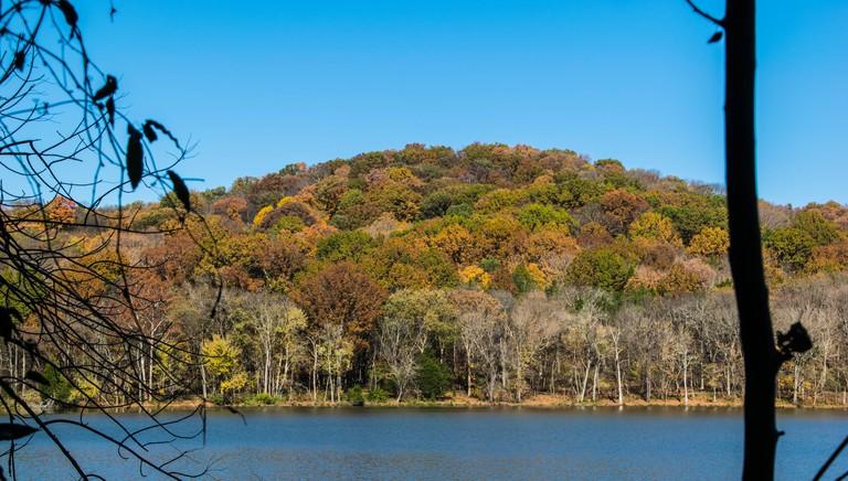 Fall colored mountain at Radnor Lake
