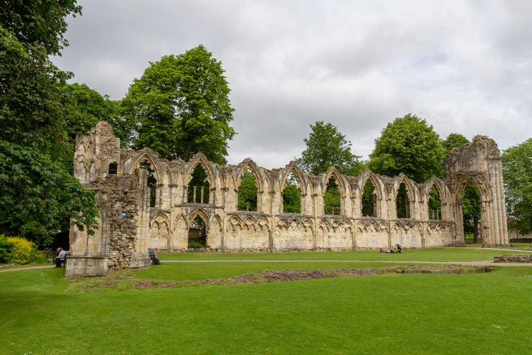 The Abbey of St Mary, a ruined Benedictine abbey in Museum Gardens, City of York, UK.