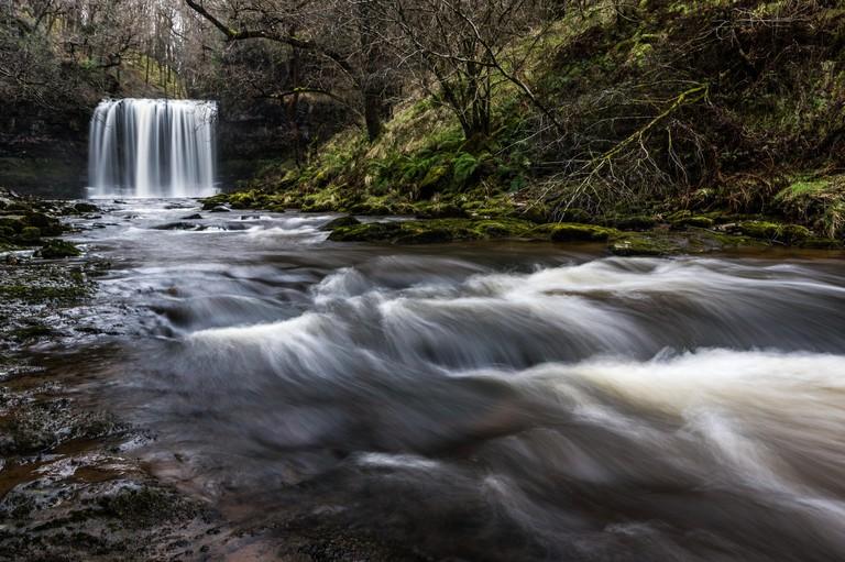 Sgwd yr Eira waterfall, Pontneddfechan, Waterfall country, Brecon Beacons, Powys, Wales, United Kingdom, Europe