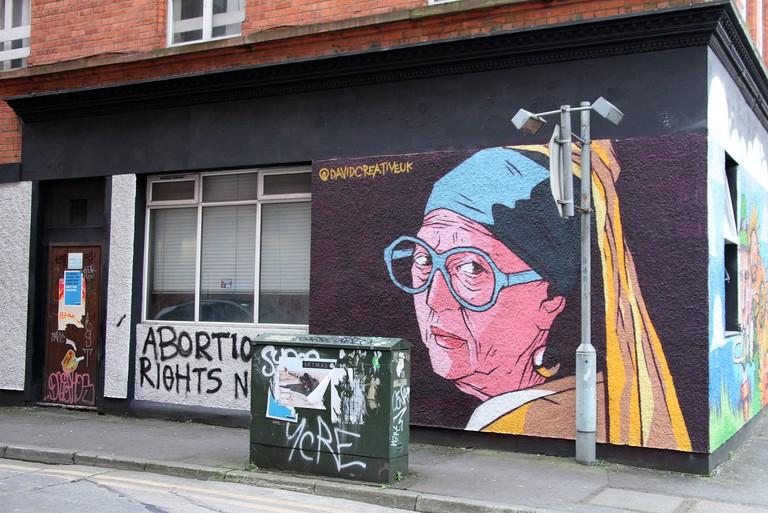 Nan with the Pearl Earring Street Mural in Belfast