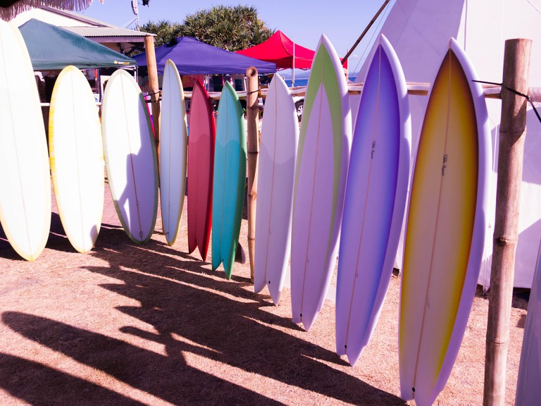 Surfboards on Sale at Surf Festival in Byron Bay