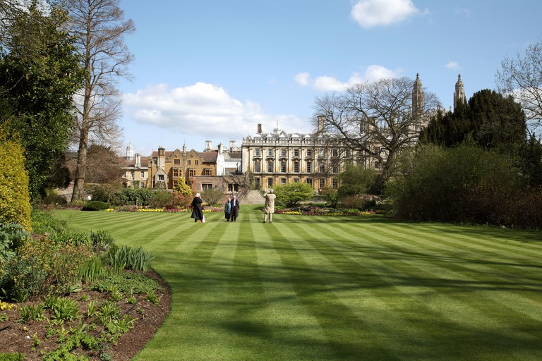 Tourists enjoy the Fellows Garden, Clare College, Cambridge on a fine spring morning. Image shot 04/2008. Exact date unknown.