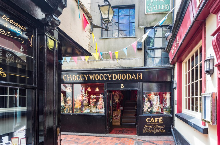 Shop front of Choccywoccydoodah, a shop making chocolate cakes, The Lanes, Brighton, East Sussex, UK (now closed)