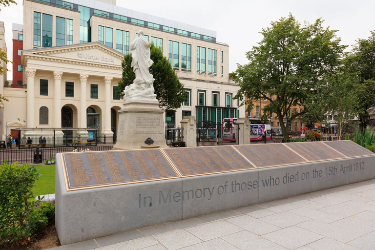 Titanic memorial garden in grounds of City Hall with new plinth listing names of victims who died. Belfast Northern Ireland