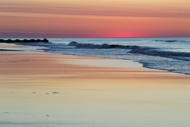 Sunrise on the beach in Wildwood, New Jersey, USA