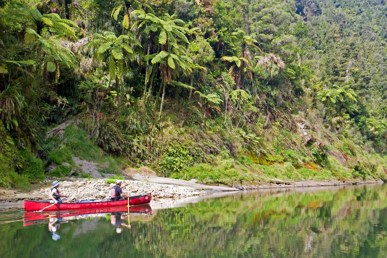 Canoeing on the Whanganui Journey, one of New Zealand's listed Great Walks, along the Whanganui River