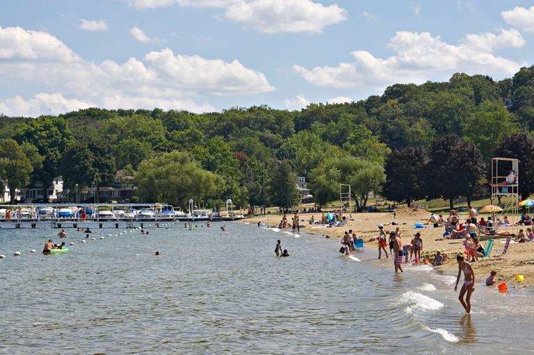 WISCONSIN Fontana Beach in small town on Lake Geneva popular vacation destination