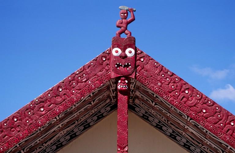 Maori Carving Meeting House Whakarewarewa Thermal Village Rotorua North Island New Zealand