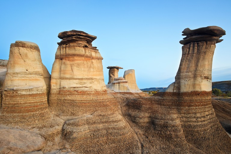 Hoodoos, rock formations in the Alberta Badlands, Drumheller, Alberta, Canada.