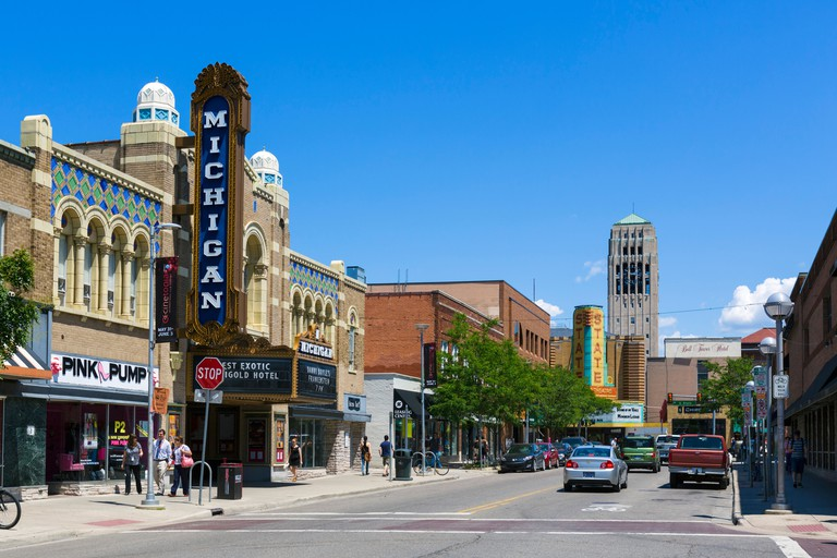 East Liberty Street in downtown with historic Michigan Theater to left and State Theater in distance, Ann Arbor, Michigan, USA