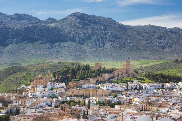 Andalusia, Antequera, town, Landscape, Malaga, Spain, Europe, Spring, architecture, castle, colourful, no people, panorama, pueb