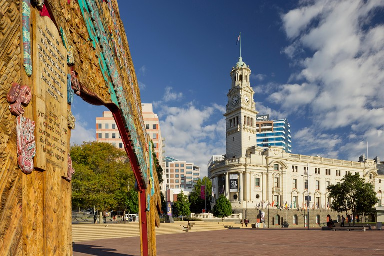 Aotea Square with Town hall, Auckland, North Island, New Zealand