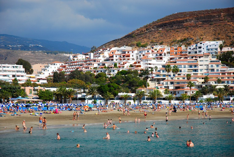 Playa de Las Vistas in Los Cristianos, Tenerife island, is considered one of the best beaches of the Canary Islands, Spain.