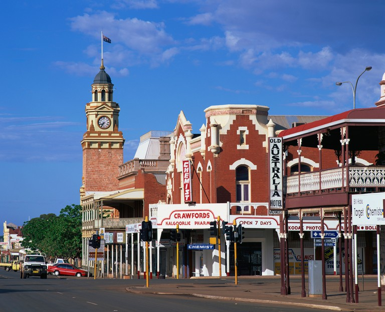 Street scene including clock tower in the outback gold mining town of Kalgoorlie in Western Australia Australia Pacific
