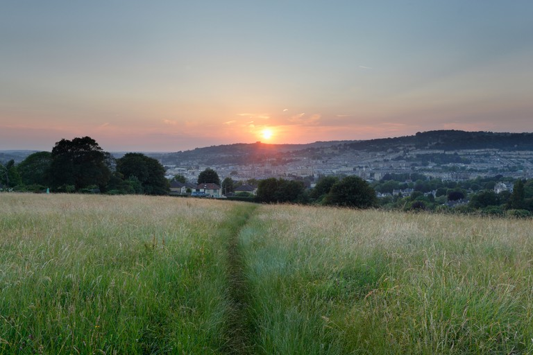 Bath City Skyline at Sunset from Widcombe Hill. Part of the Bath Skyline Walk. Somerset. England. UK.
