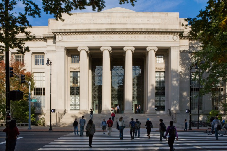 Massachusetts Institute of Technology aka MIT. The Rogers Building is the main entrance, Cambridge, Massachusetts, USA.
