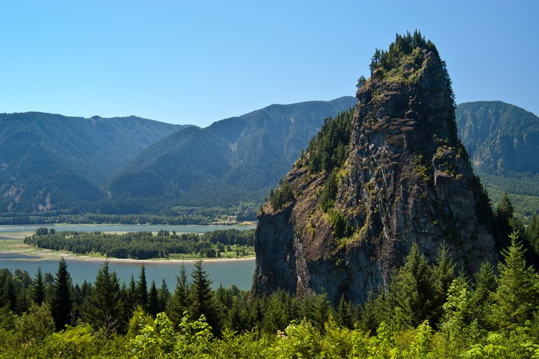 Beacon Rock; Beacon Rock State Park, Columbia River Gorge, Washington.