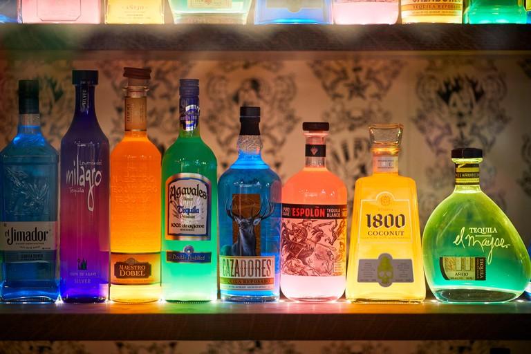Alcoholic drinks bottles  Boston Massachusetts, United States, USA,