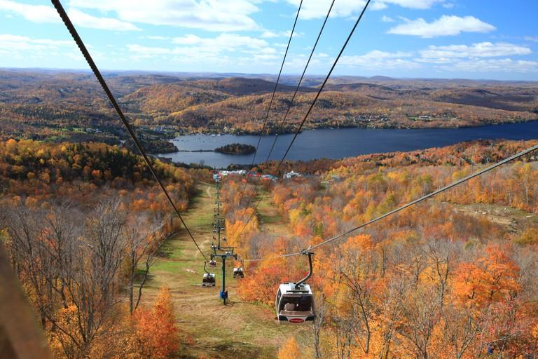 Panoramic gondola over scenic Mont Tremblant ski resort, Quebec