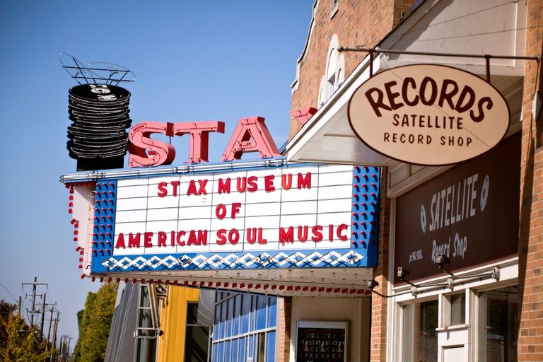 Marquee sign outside the STAX Museum of American Soul, Memphis, Tennessee, USA and its Satellite record shop,. Image shot 10/2010. Exact date unknown.