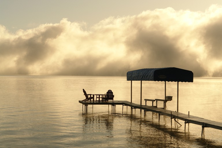 AJD62433, Indian River, MI, Michigan, Burt Lake, fog, dock, solitude. Image shot 2009. Exact date unknown.