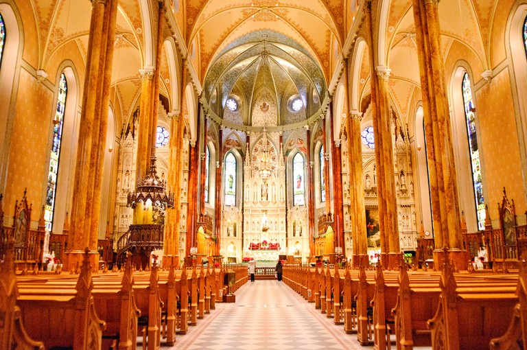 MONTREAL, Canada - Montreal's Saint Patrick's Basilica. Built by French missionaries in 1947 for the city's Catholic Irish population, it features impressive and extensive use of wood internally.