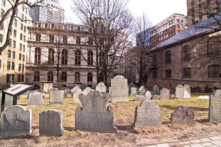 Gravestones in King's Chapel Burying Ground, Tremont Street, Boston, MA