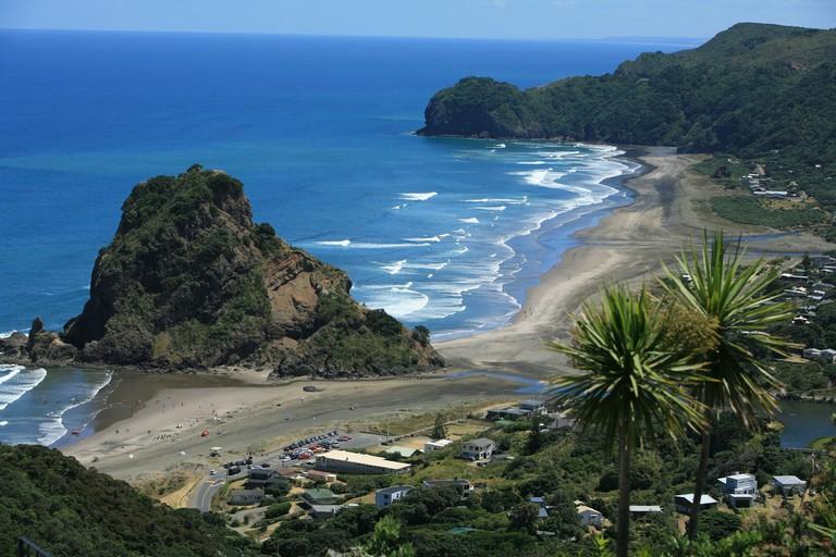 Bethells beach and bays at Karekare and Piha from Tasman lookout track North island New Zealand