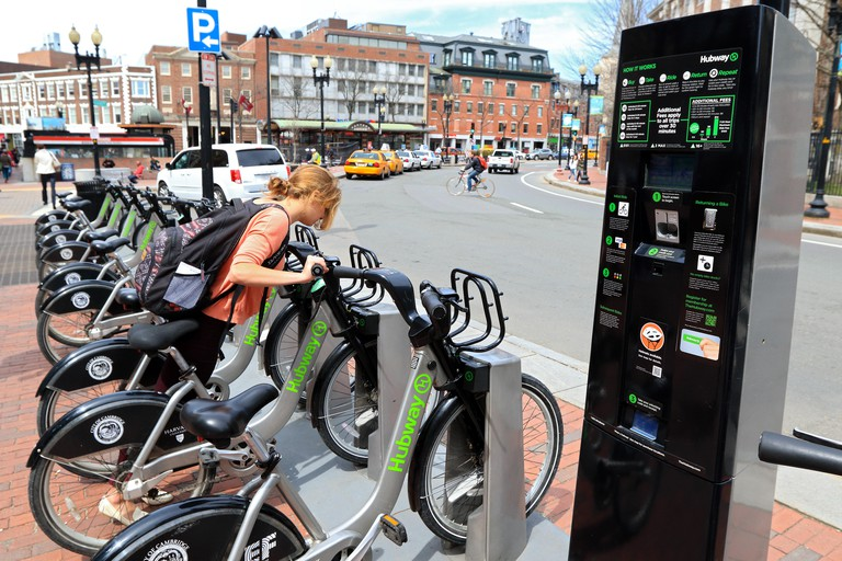 Cambridge city bike station. Boston Hubway bicycle available for tourists and Harvard students.