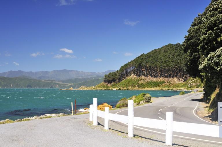 Wellington coastal road, New Zealand