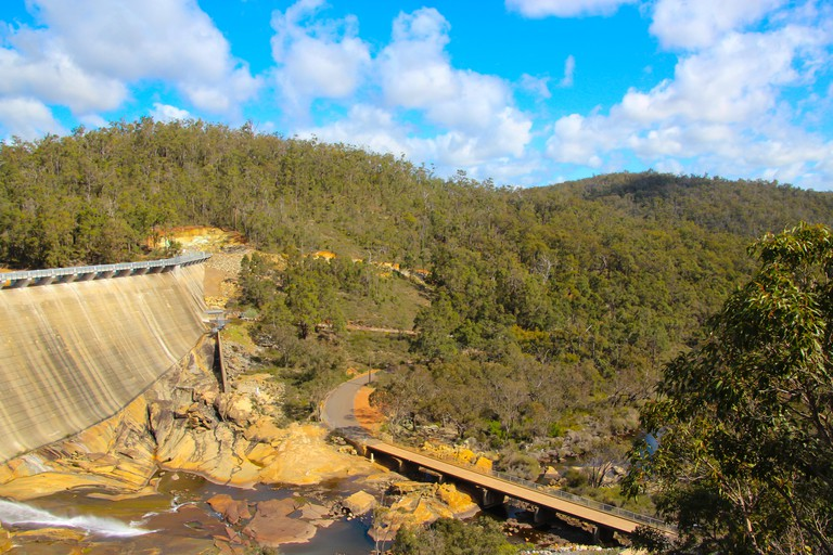 Scenic view  of Wellington Dam near Collie Western Australia on a  fine morning in spring after heavy rainfall upstream with  no water flowing over.