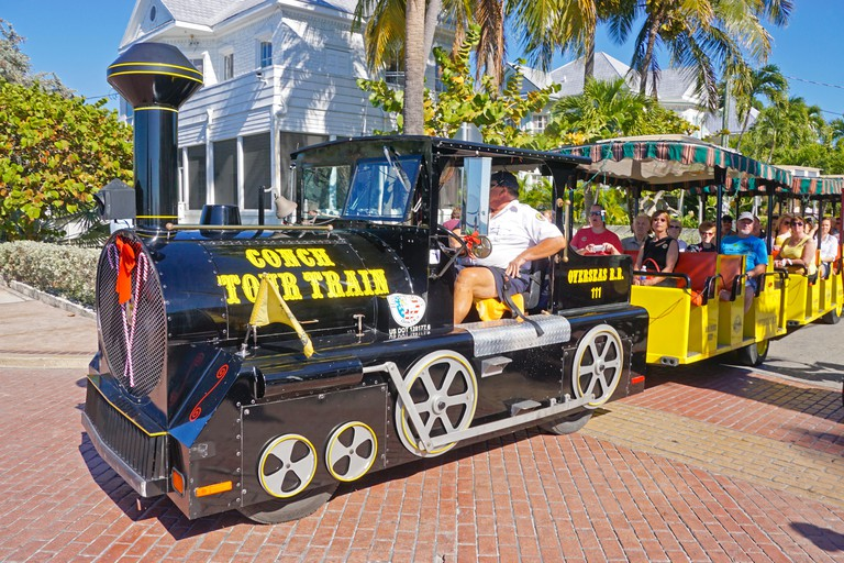 Key West Conch Tour Train carrying tourists.
