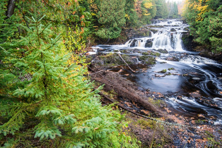 The Tyler Fork of the Bad River flows over the Cascades waterfall in Copper Falls State Park, Ashland County, Wisconsin, USA.