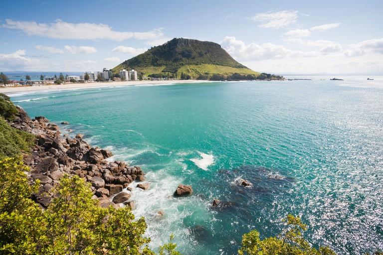 View of Mount Maunganui, Bay of Plenty, New Zealand, from Moturiki Island.