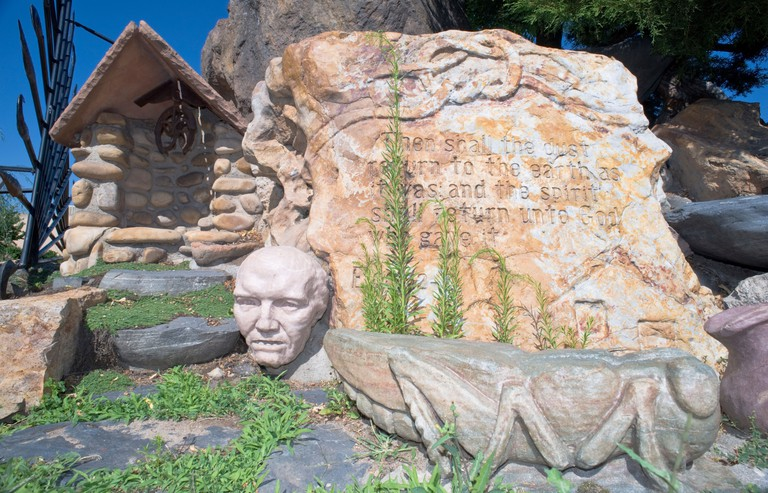 """Gilgal Garden, designated as a """"visionary art environment"""", is filled with unusual symbolic statuary associated with Mormonism."""