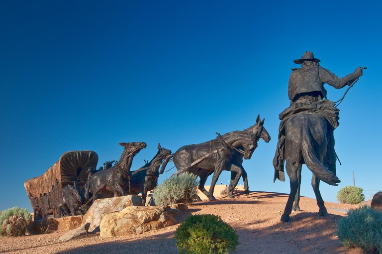 Journey's End, bronze sculpture by Reynaldo 'Sonny' Rivera at Museum Hill, Santa Fe, New Mexico, USA