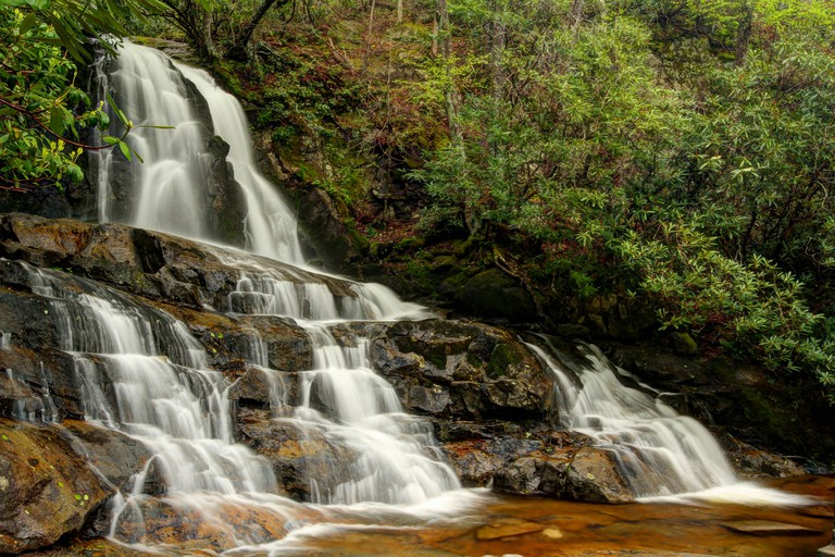 Laurel Falls. Great Smoky Mountains National Park. Gatlinburg, Tennessee, USA. HDR photo processing.