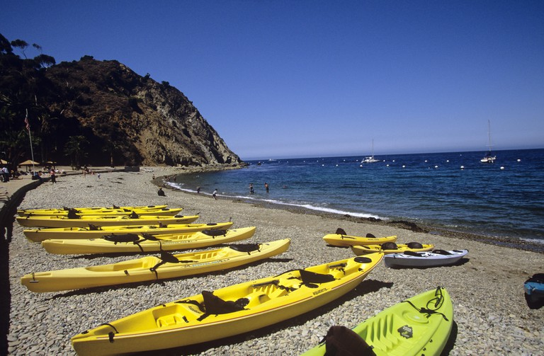 You can rent ocean kayaks at Descanso Beach Club, Avalon, Catalina Island, California, USA.