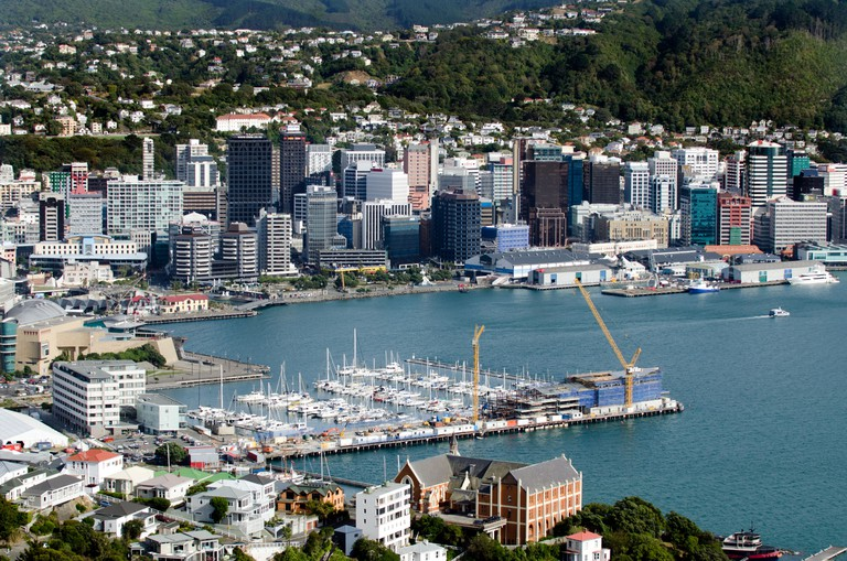 Wellington Harbour, North Island, New Zealand, taken from Mount Victoria overlooking Oriental Bay.