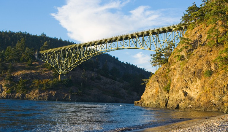 Deception Pass State Park Bridge at sunset Whidbey Island Washington USA