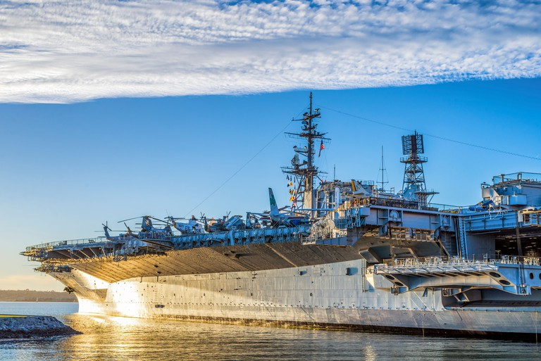 USS Midway Museum at Tuna Harbor Park. San Diego, California, United States.
